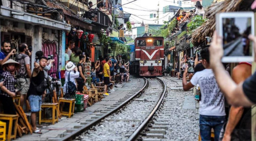 Hanoi Train Street offers a close-up train view for perfect Instagram shots